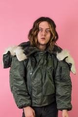 vintage cropped green army parka
