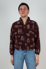 fuzzy vintage fleece jacket in maroon with bear print