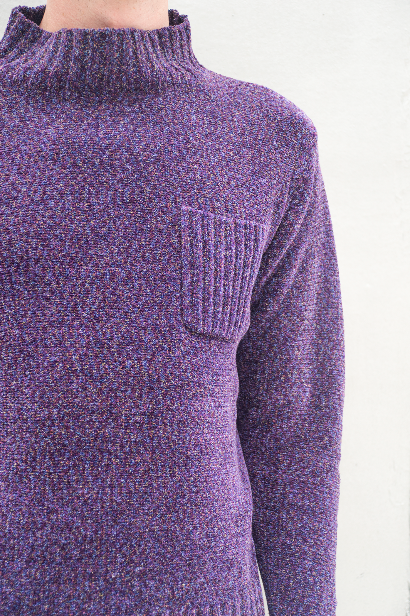 purple knit with pocket at chest