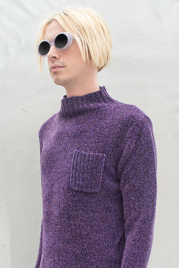 purple sweater with chest pocket and mock neck