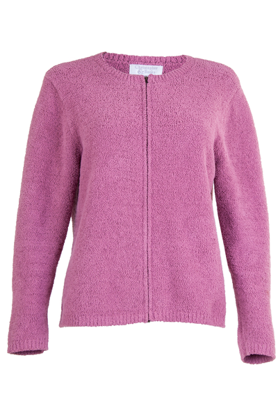 Pink sweater with zipper front closure