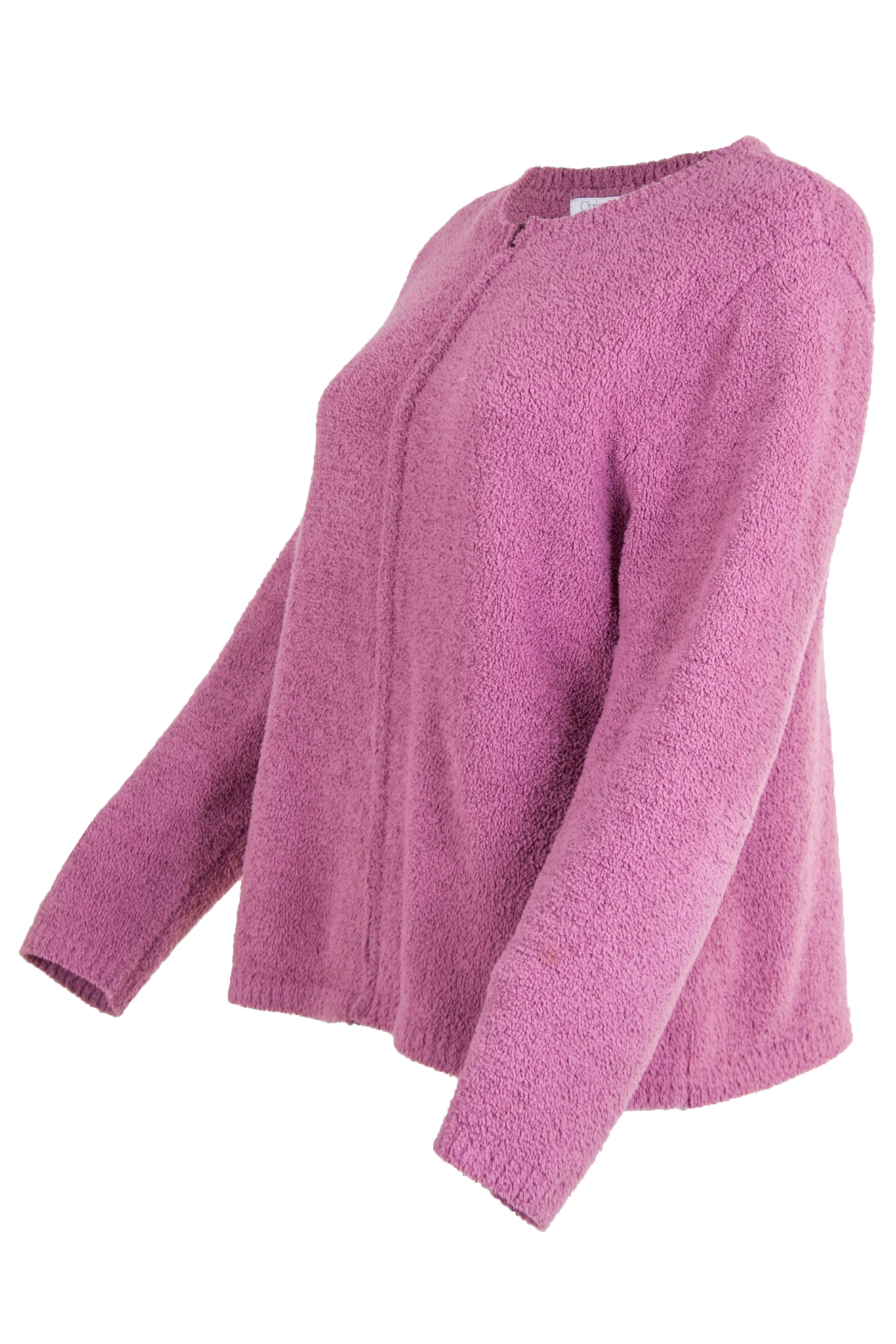 vintage pink sweater with zipper front closure