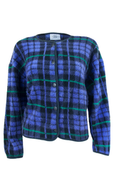 purple plaid cardigan with green stripes