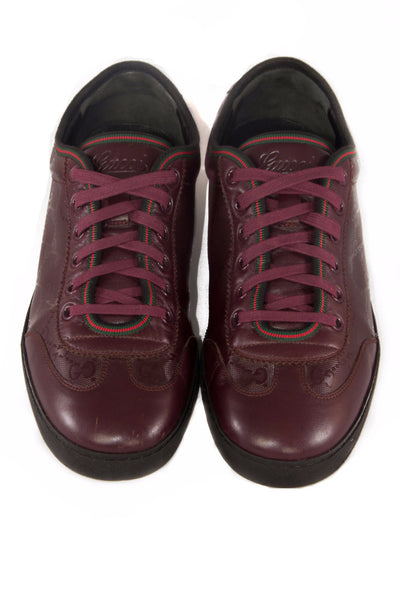 maroon imprime leather gucci sneakers