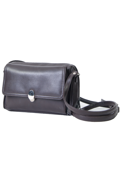 brown leather vintage crossbody bag with silver clasp closure