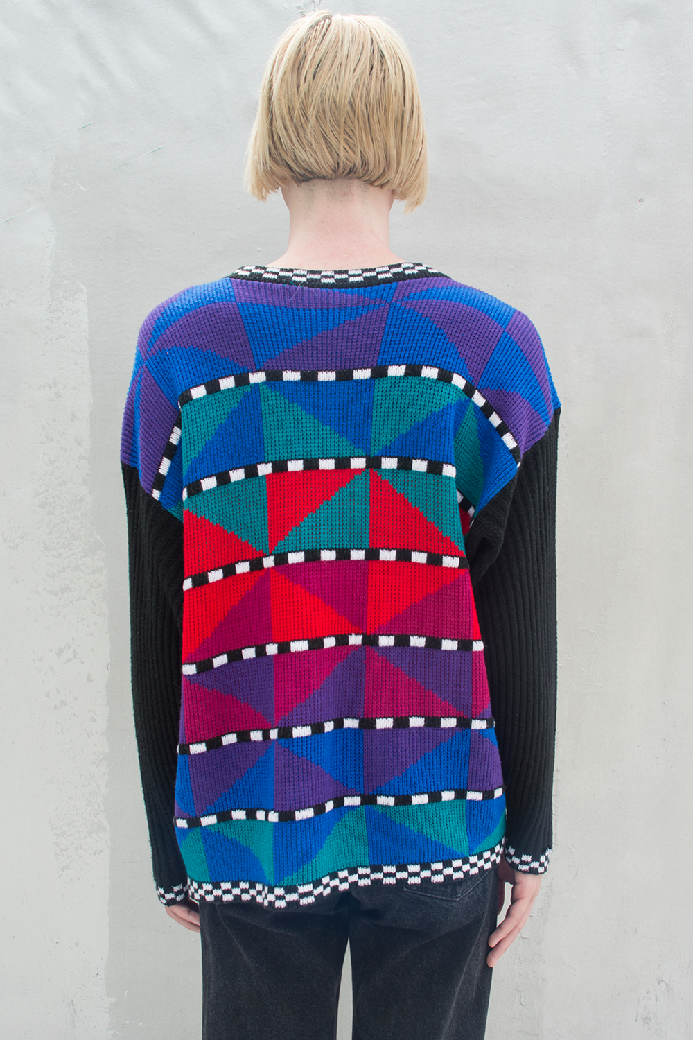 multicolor sweater with geometric print