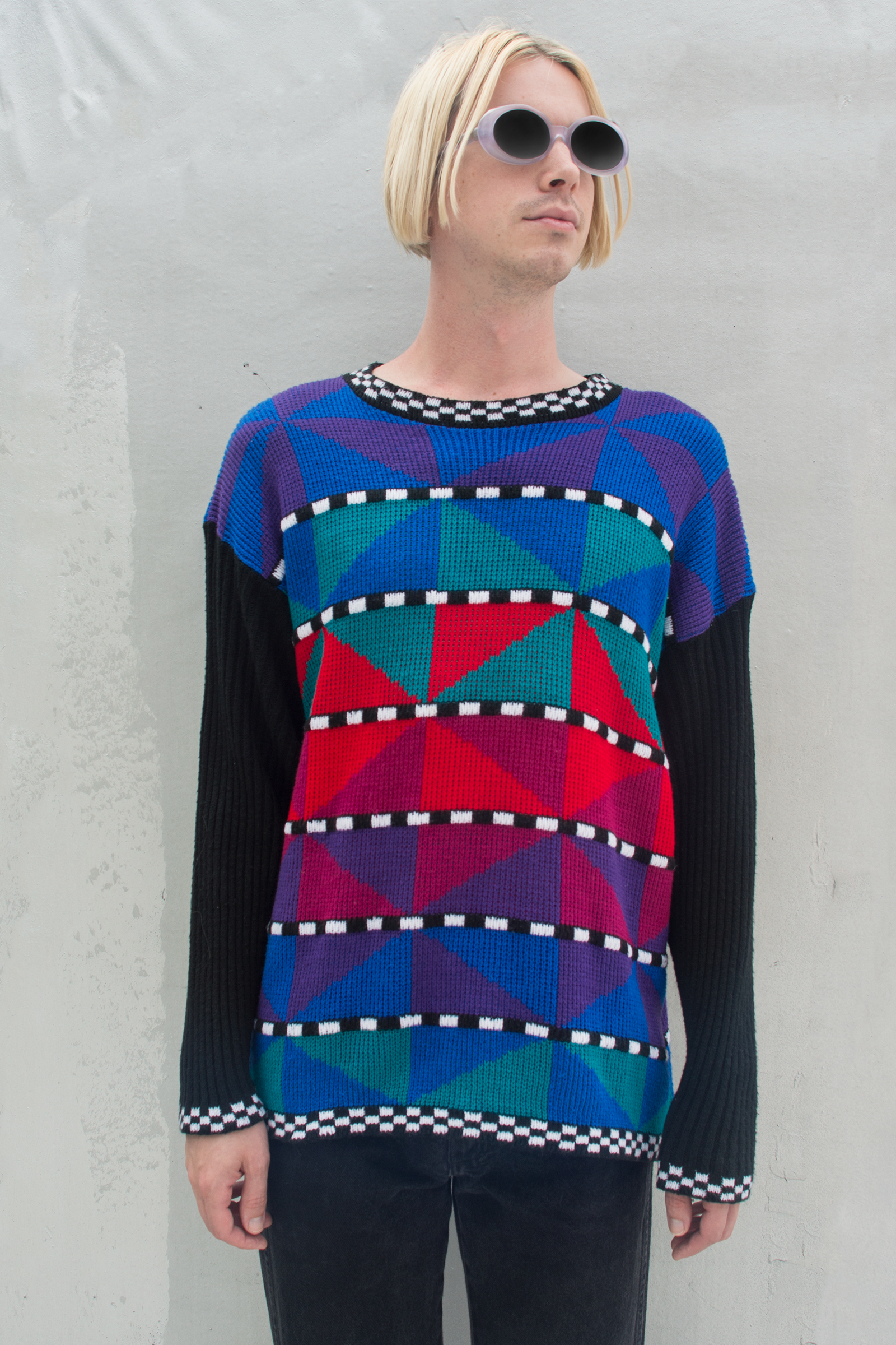 vintage geometrical multicolor sweater