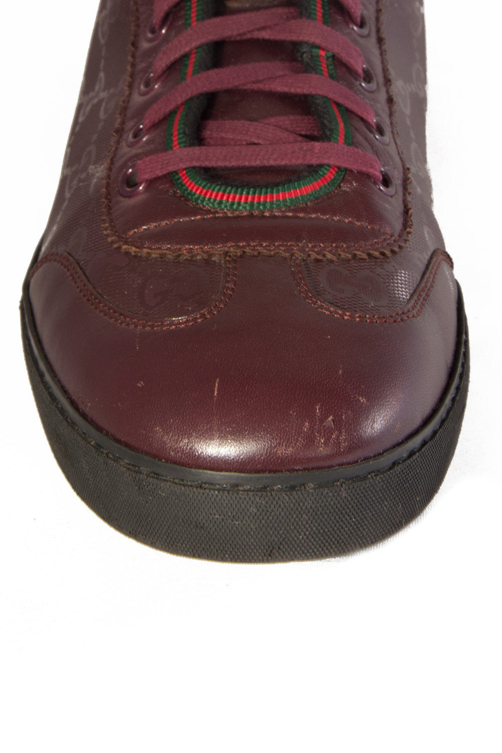 maroon gucci shoes toe vamp