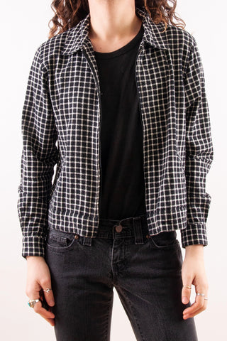 Gingham Silk Trucker Jacket