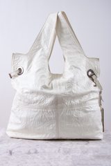 white patent leather Givenchy crinkled George V tote bag
