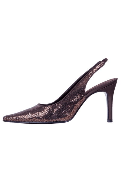 brown glitter heels with slingback strap