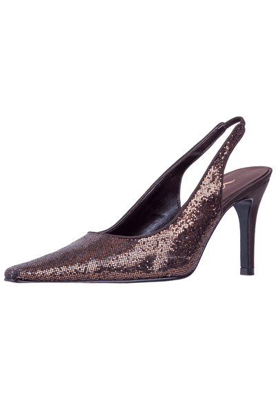 brown glitter pumps with slingback strap