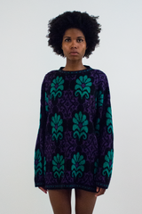 vintage green and purple glitter sweater dress
