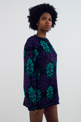 vintage sweater dress in green and purple glitter
