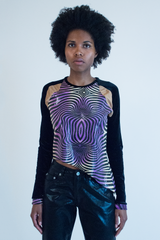 Glossy psychedelic top in purple with asymmetrical hem