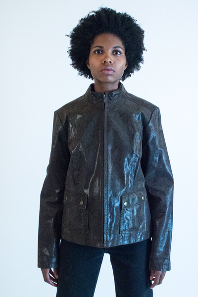vintage glossy leather jacket