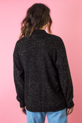 vintage black sweater with gold sparkle