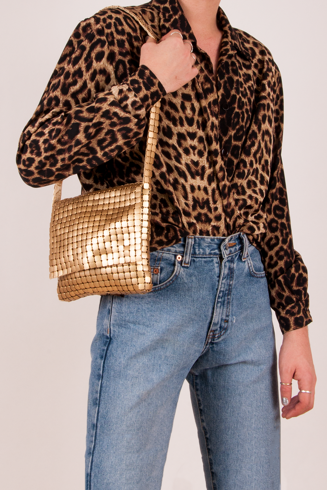 Gold Metal Shoulder Bag