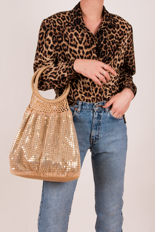 vintage gold sequin crochet tote bag
