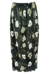 green maxi pleated skirt with floral print