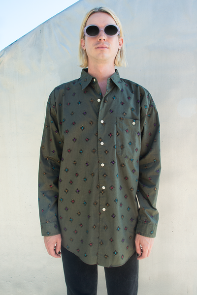 vintage green button up shirt with diamond print