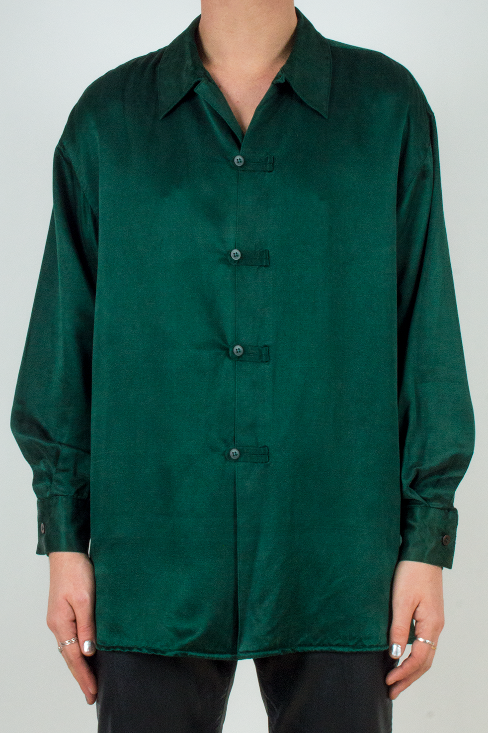 vintage green silk shirt with kimono style buttons