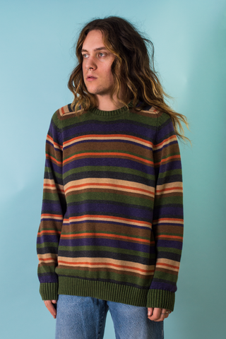 vintage green and multicolor striped crewneck sweater
