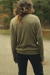 vintage ribbed green sweater
