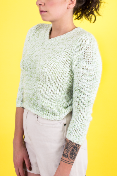 vintage green and white v-neck sweater