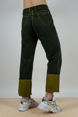 vintage green jeans with turn-up hems