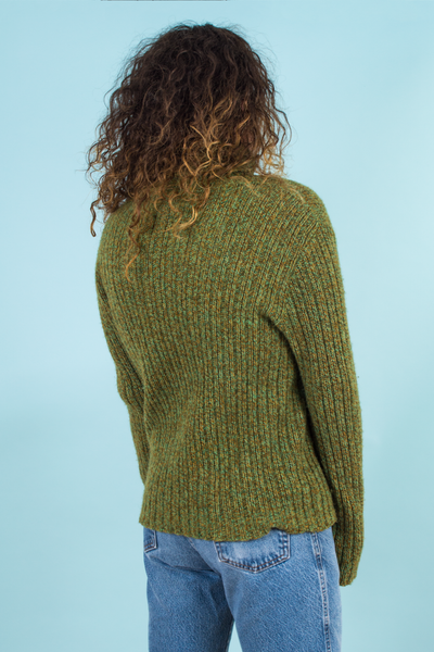 vintage green chunky turtleneck sweater