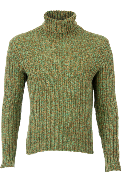 vintage turtleneck sweater in green with ribbing