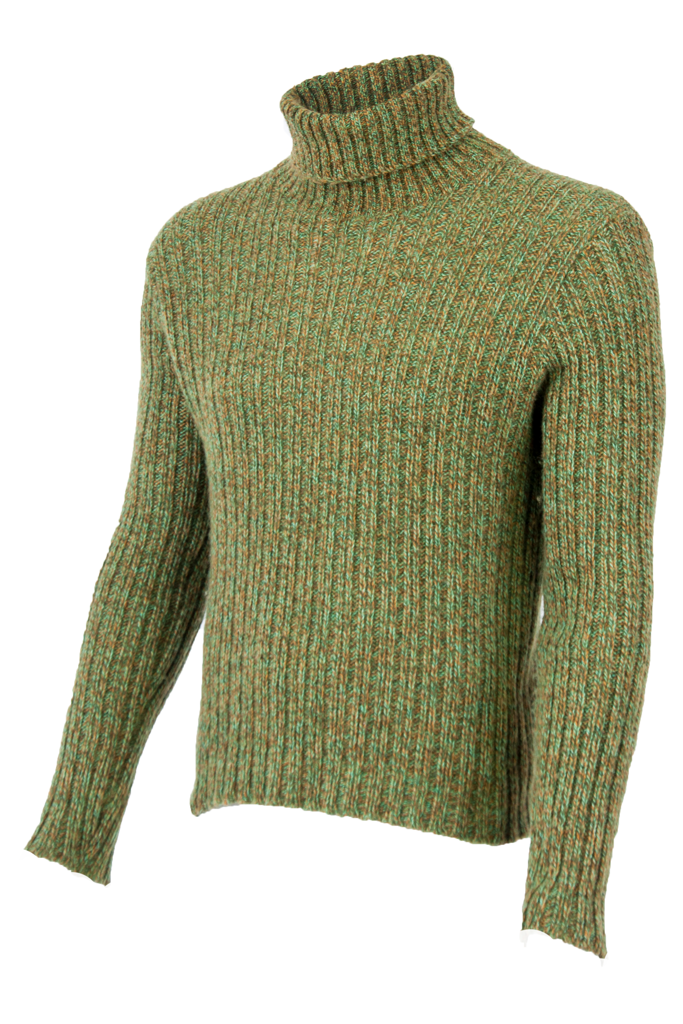 green turtleneck sweater with ribbing