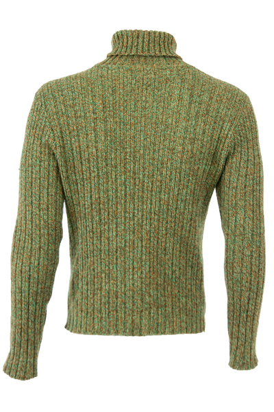 green ribbed turtleneck sweater