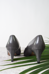 vintage grey leather kitten heels