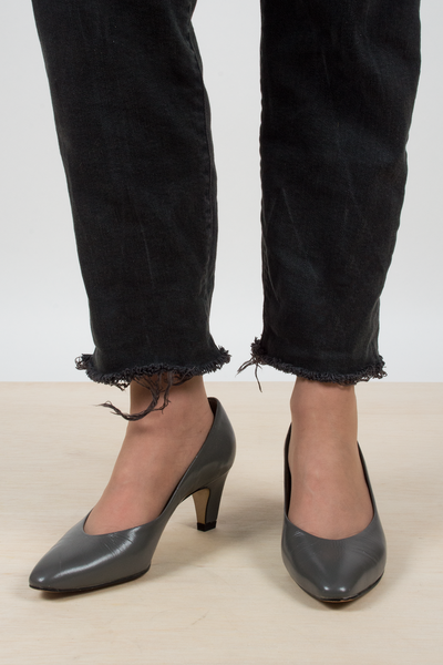 vintage grey leather high heel shoes