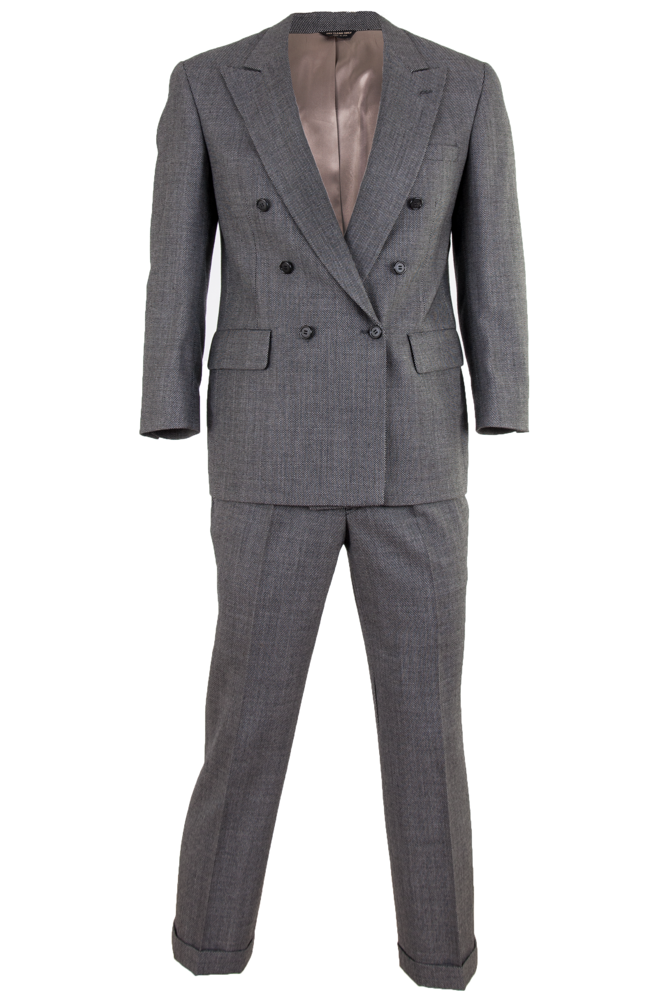vintage bill blass double breasted suit set in grey