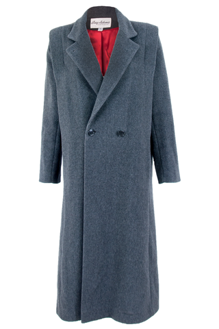 Grey wool coat with pointed lapel collar