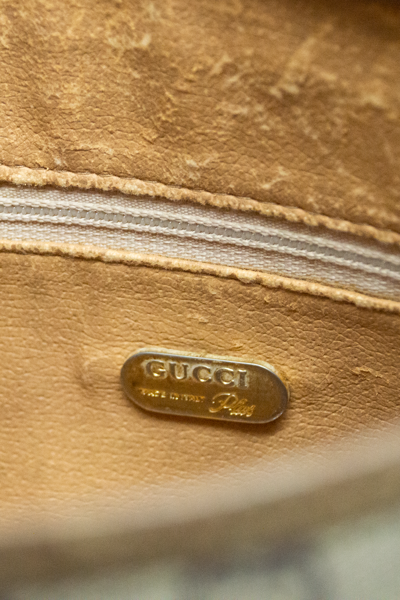 interior of vintage gucci bag