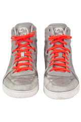 Metallic Gucci Sneakers with orange laces