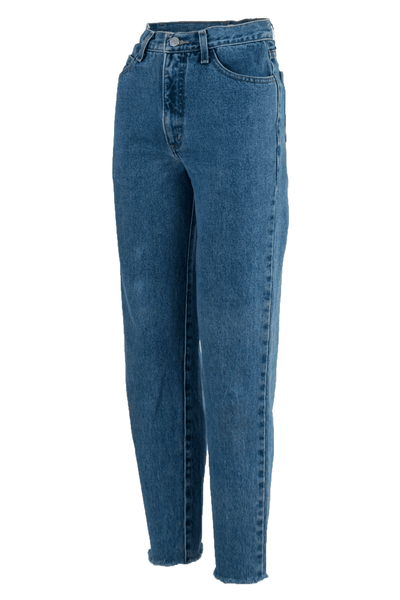 denim blue jeans with raw hems