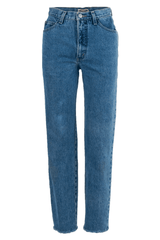 vintage high-rise jeans with raw hems