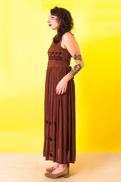 vintage brown embroidered hippie dress