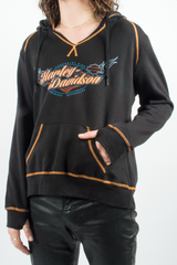 vintage harley davidson hoodie in black with orange trim