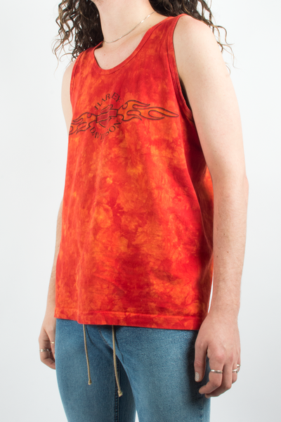 vintage harley davidson tye-dye tank top in orange