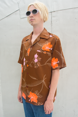 vintage floral Hawaiian button up shirt in brown multi