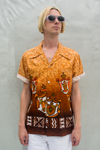 rare 50s Hawaiian button up shirt in orange