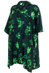 green hawaiian print shirt dress