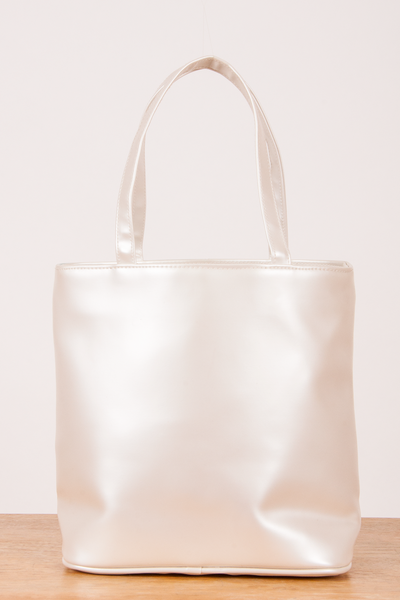 vintage iridescent PVC tote in pearl