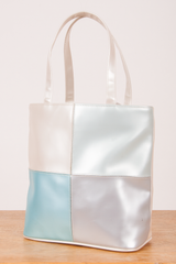 vintage iridescent PVC tote in pearl and blue